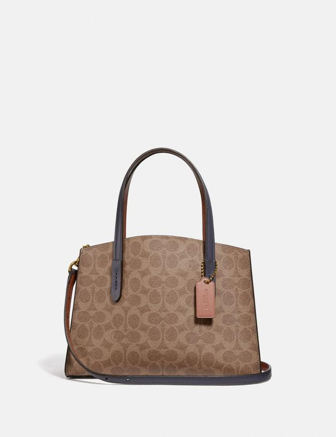 Coach Charlie Carryall 28 in Signature Canvas Brass/Tan Ink Light Peach