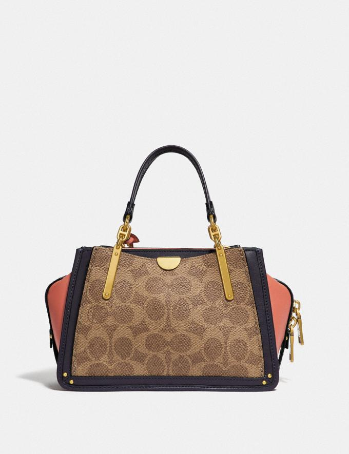 Coach Dreamer 21 in Colorblock Signature Canvas Tan/Ink Light Peach/Brass Women Bags Satchels Alternate View 2