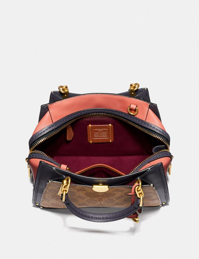 Coach Dreamer 21 in Colorblock Signature Canvas Tan/Ink Light Peach/Brass Women Bags Satchels Alternate View 3