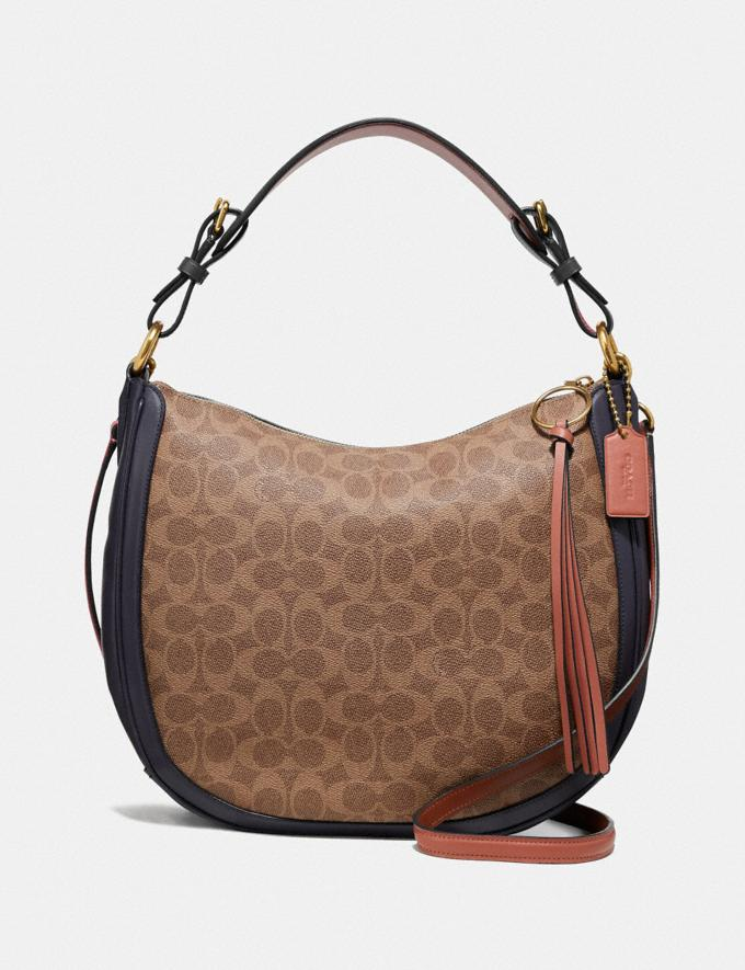 Coach Sutton Hobo in Colorblock Signature Canvas Tan/Ink Light Peach/Brass Women Bags Shoulder Bags