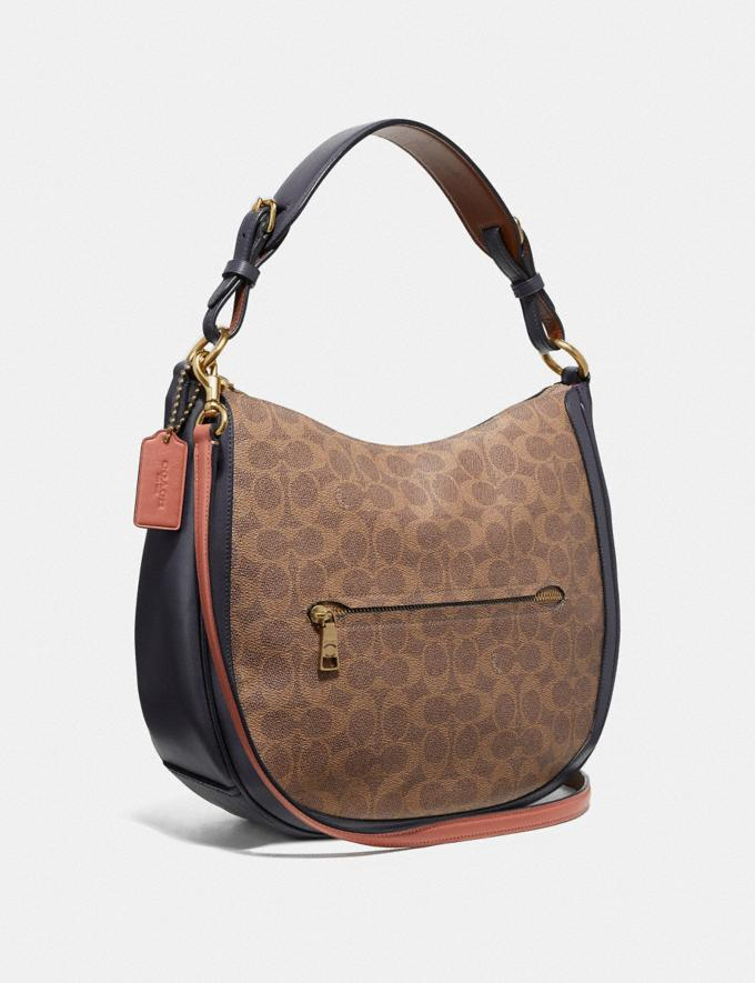 Coach Sutton Hobo in Colorblock Signature Canvas Tan/Ink Light Peach/Brass Women Bags Shoulder Bags Alternate View 1
