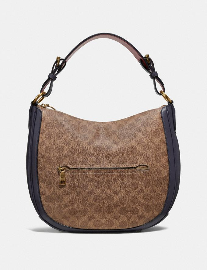 Coach Sutton Hobo in Colorblock Signature Canvas Tan/Ink Light Peach/Brass Women Bags Shoulder Bags Alternate View 2