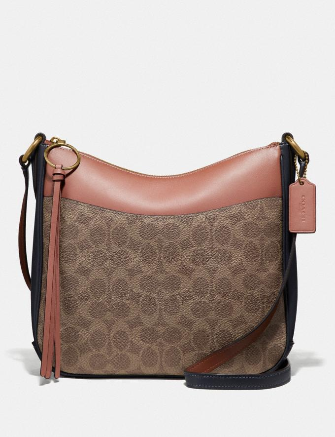 Coach Chaise Crossbody in Colorblock Signature Canvas Tan/Ink Light Peach/Brass Women Collection Signature