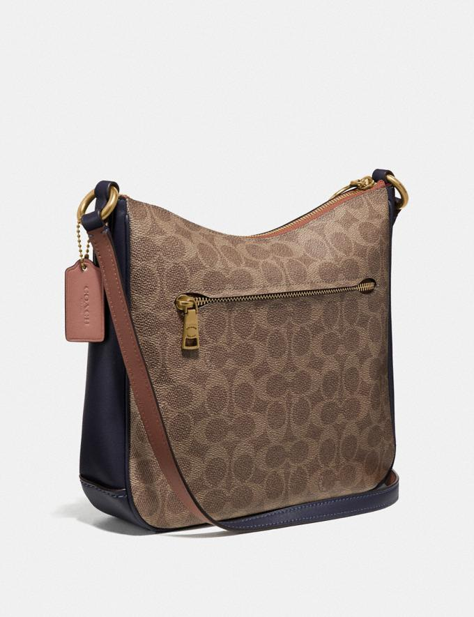Coach Chaise Crossbody in Colorblock Signature Canvas Tan/Ink Light Peach/Brass Women Collection Signature Alternate View 1