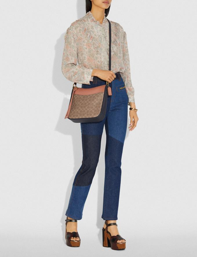 Coach Chaise Crossbody in Colorblock Signature Canvas Tan/Ink Light Peach/Brass Women Collection Signature Alternate View 3