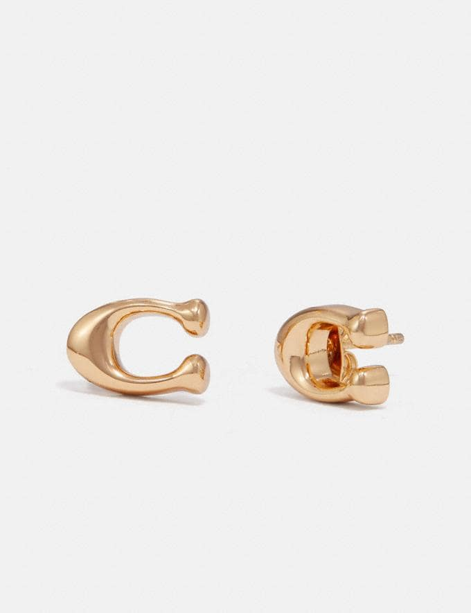 Coach Signature Earrings Gold Women Accessories Jewelry