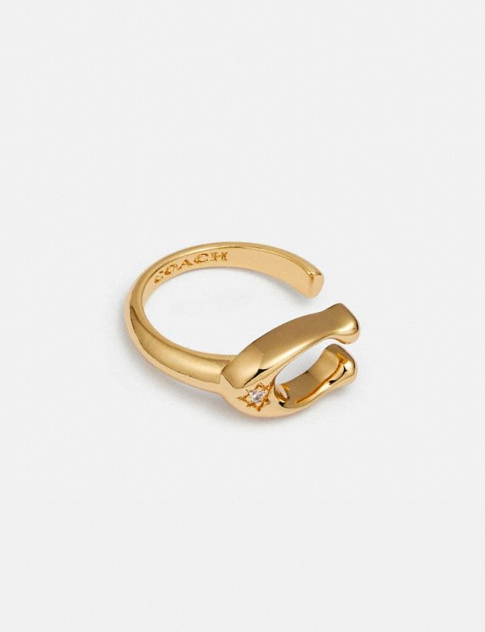 Coach Signature Ring Gold New Women's New Arrivals