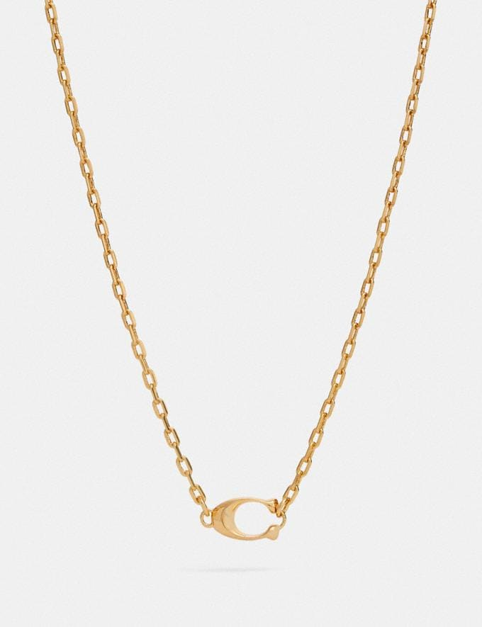 Coach Signature Pendant Necklace Gold Women Accessories Jewelry