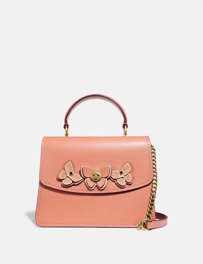 Coach Parker Top Handle With Butterfly Applique Light Peach/Brass Women Bags Satchels & Carryalls