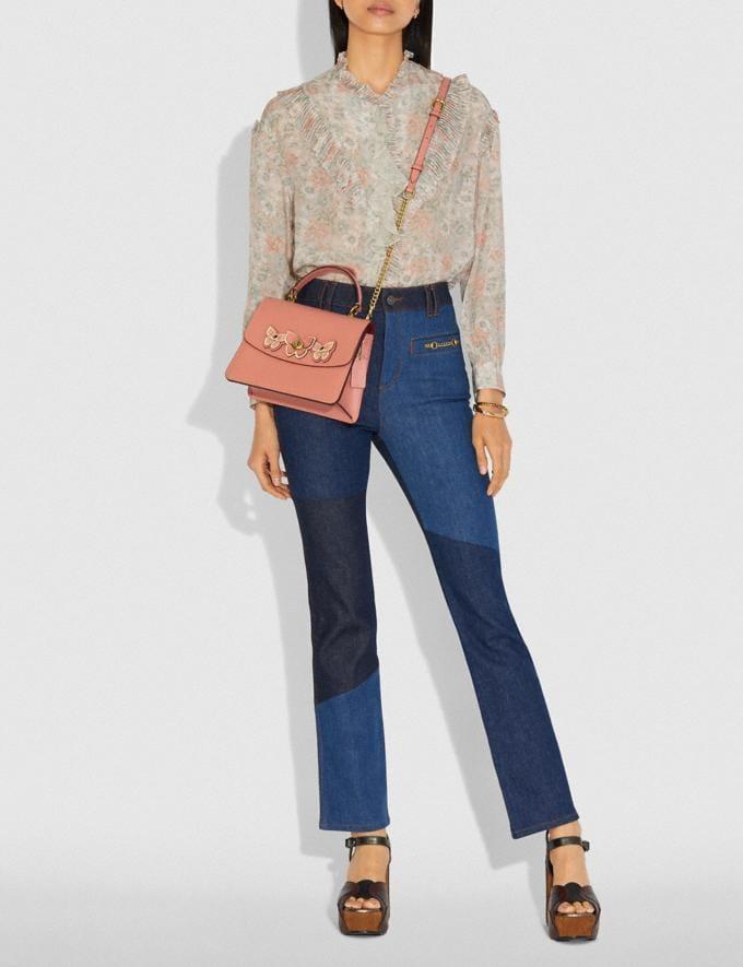 Coach Parker Top Handle With Butterfly Applique Light Peach/Brass Women Bags Satchels & Carryalls Alternate View 5