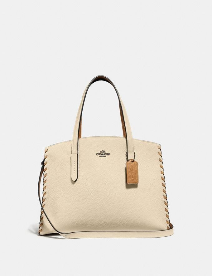 Coach Charlie Carryall in Colorblock With Whipstitch Ivory Multi/Gunmetal Women Bags Satchels