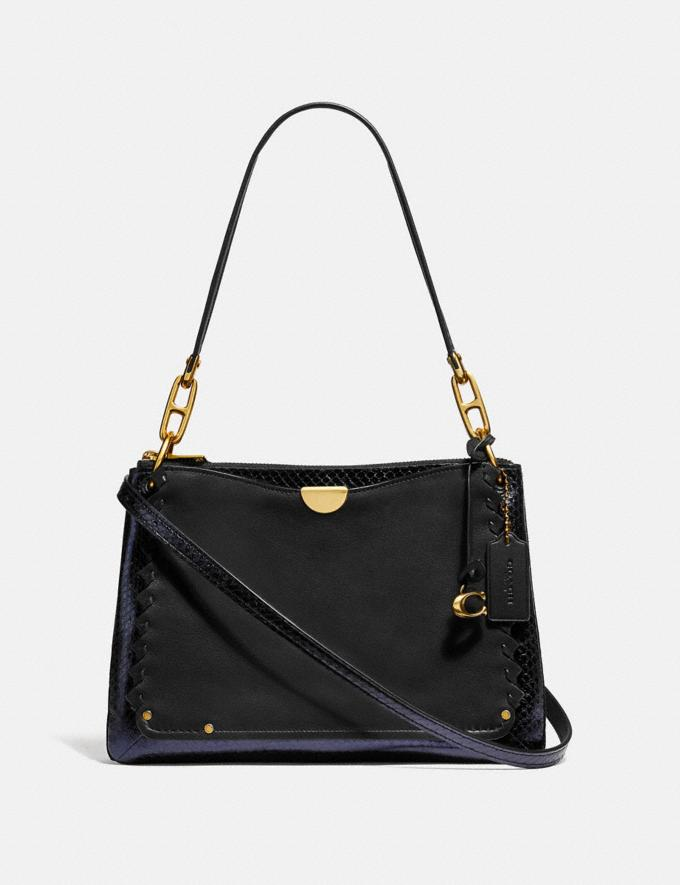 Coach Dreamer Shoulder Bag With Whipstitch and Snakeskin Detail Black Multi/Brass New Featured Online Exclusives