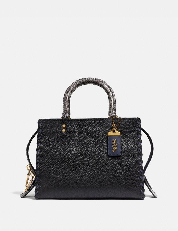Coach Rogue 25 With Whipstitch and Snakeskin Detail Black Multi/Brass Women Bags Shoulder Bags