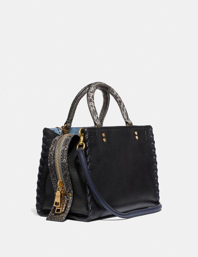 Coach Rogue 25 With Whipstitch and Snakeskin Detail Black Multi/Brass Women Bags Shoulder Bags Alternate View 1