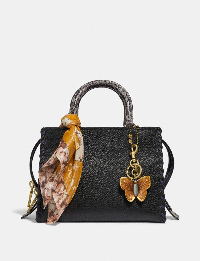 Coach Rogue 25 With Whipstitch and Snakeskin Detail Black Multi/Brass Women Bags Shoulder Bags Alternate View 3