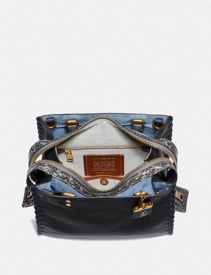 Coach Rogue 25 With Whipstitch and Snakeskin Detail Black Multi/Brass Women Bags Shoulder Bags Alternate View 2
