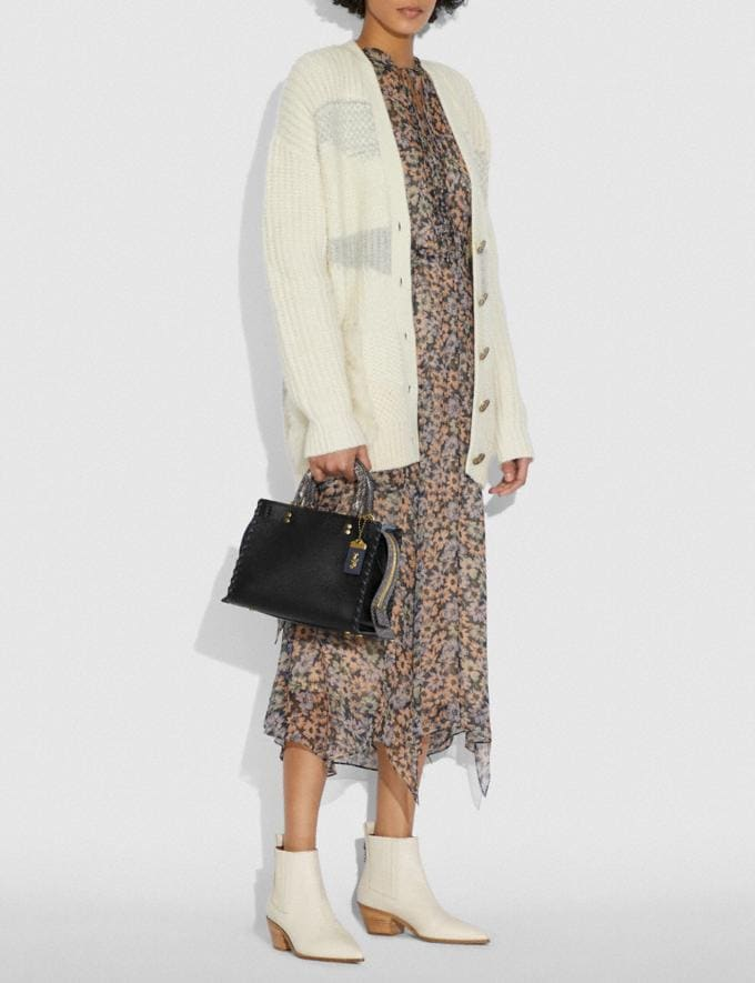 Coach Rogue 25 With Whipstitch and Snakeskin Detail Black Multi/Brass Women Handbags Shoulder Bags & Hobos Alternate View 5