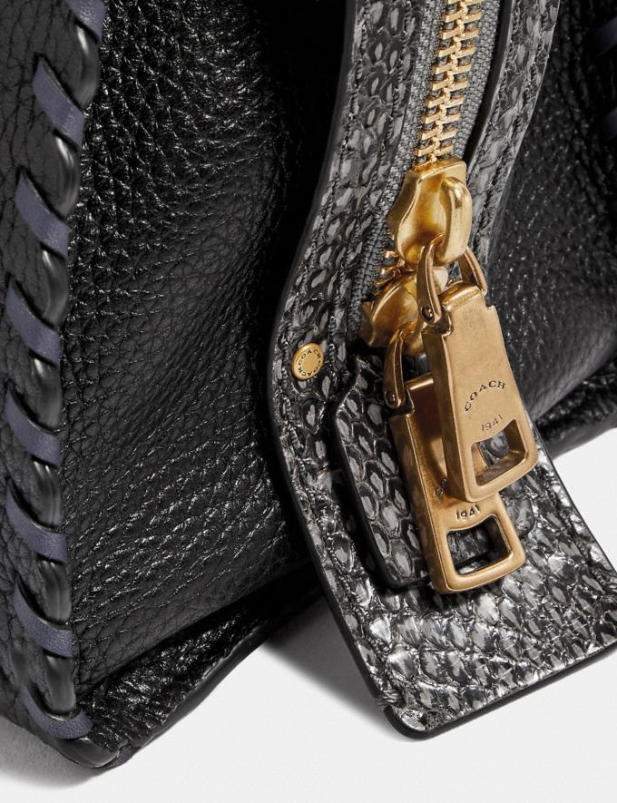 Coach Rogue 25 With Whipstitch and Snakeskin Detail Black Multi/Brass Women Bags Shoulder Bags Alternate View 4
