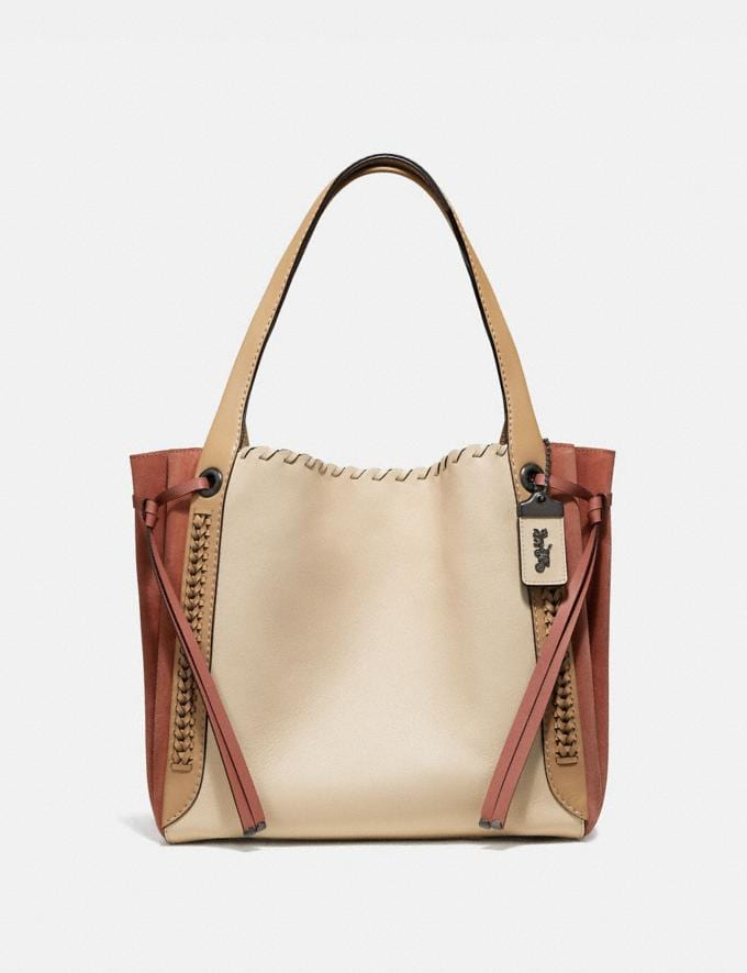 Coach Harmony Hobo in Colorblock With Whipstitch Ivory Multi/Pewter Women Bags Shoulder Bags