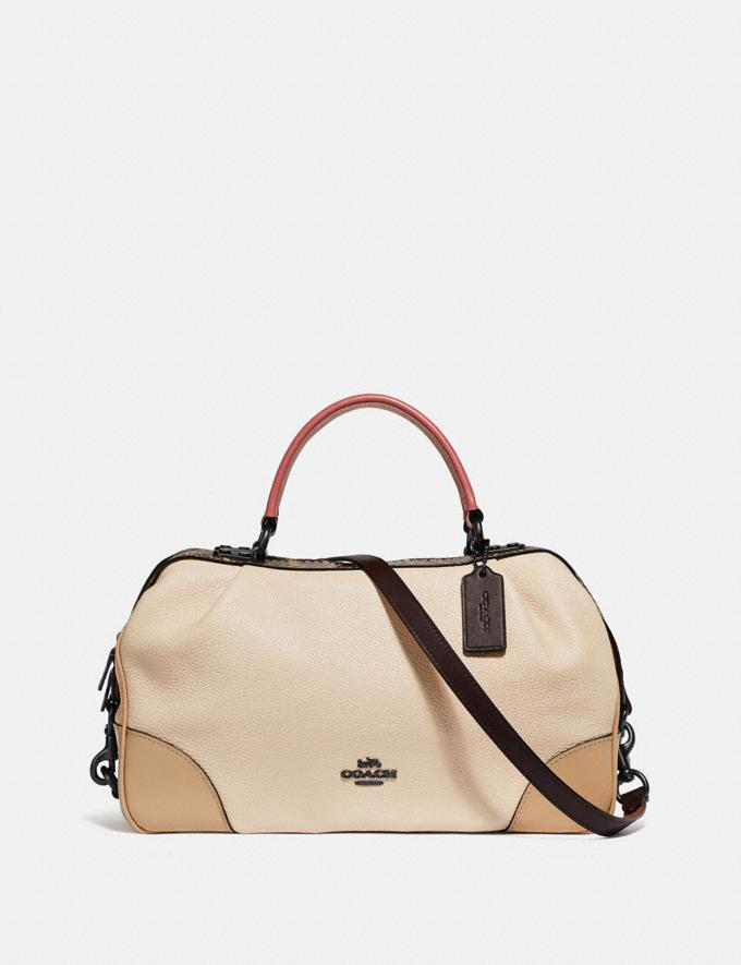 Coach Lane Satchel in Colorblock With Snakeskin Detail Ivory Multi/Pewter Women Edits Weekend
