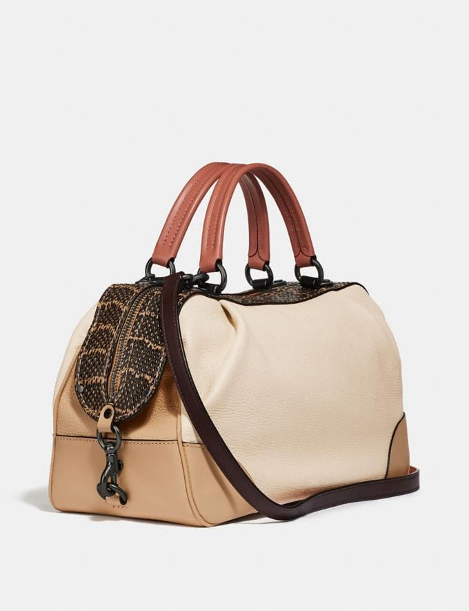Coach Lane Satchel in Colorblock With Snakeskin Detail Ivory Multi/Pewter Women Edits Weekend Alternate View 1