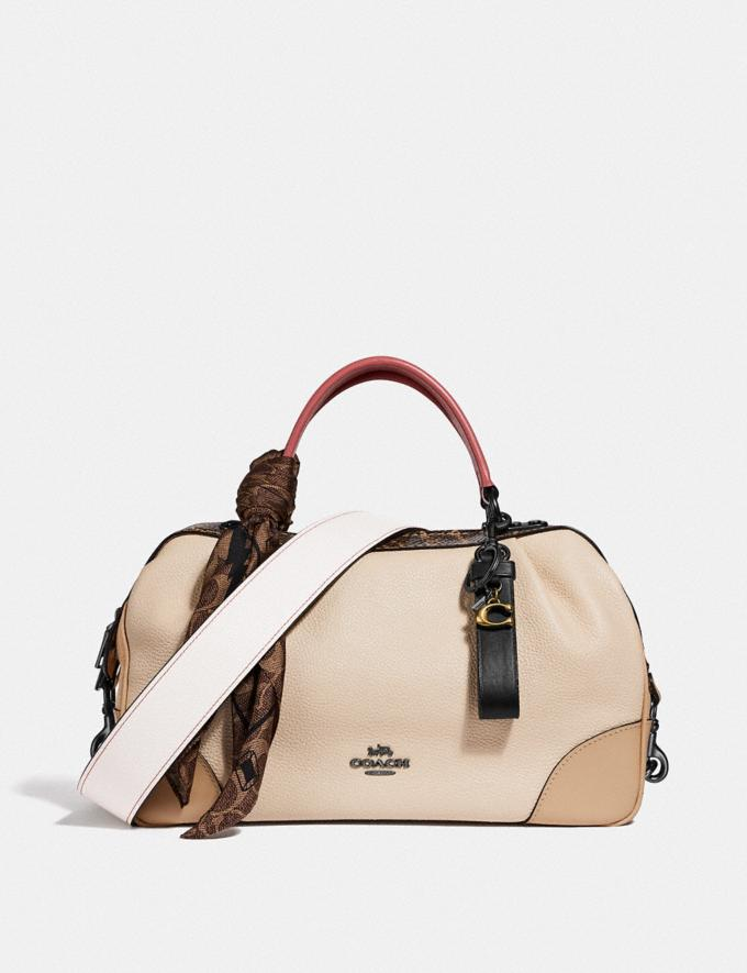 Coach Lane Satchel in Colorblock With Snakeskin Detail Ivory Multi/Pewter Women Bags Satchels & Carryalls Alternate View 3