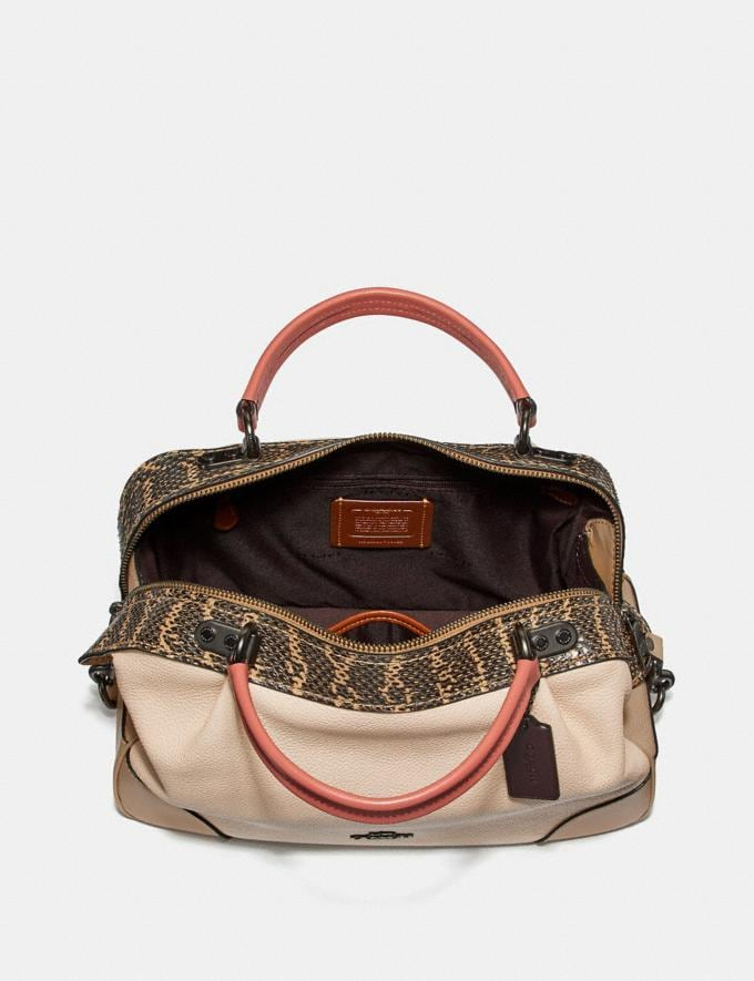 Coach Lane Satchel in Colorblock With Snakeskin Detail Ivory Multi/Pewter Women Bags Satchels Alternate View 2