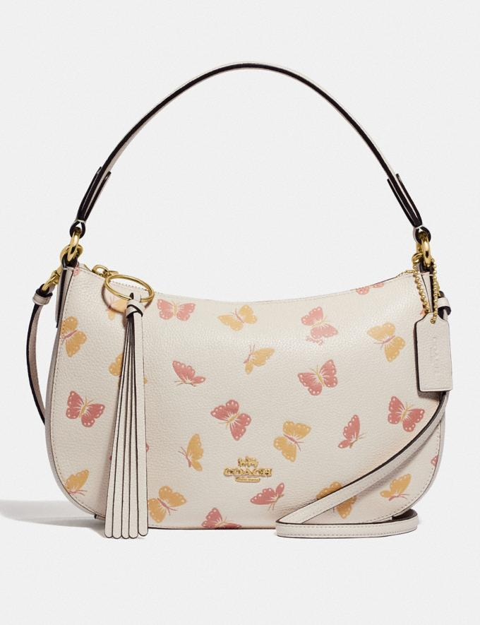 Coach Sutton Crossbody With Butterfly Print Chalk/Gold New Women's Trends Butterfly Applique