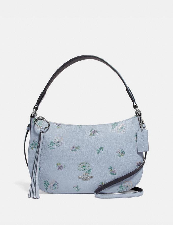 Coach Sutton Crossbody With Meadow Prairie Print Silver/Mist Women Bags Crossbody Bags