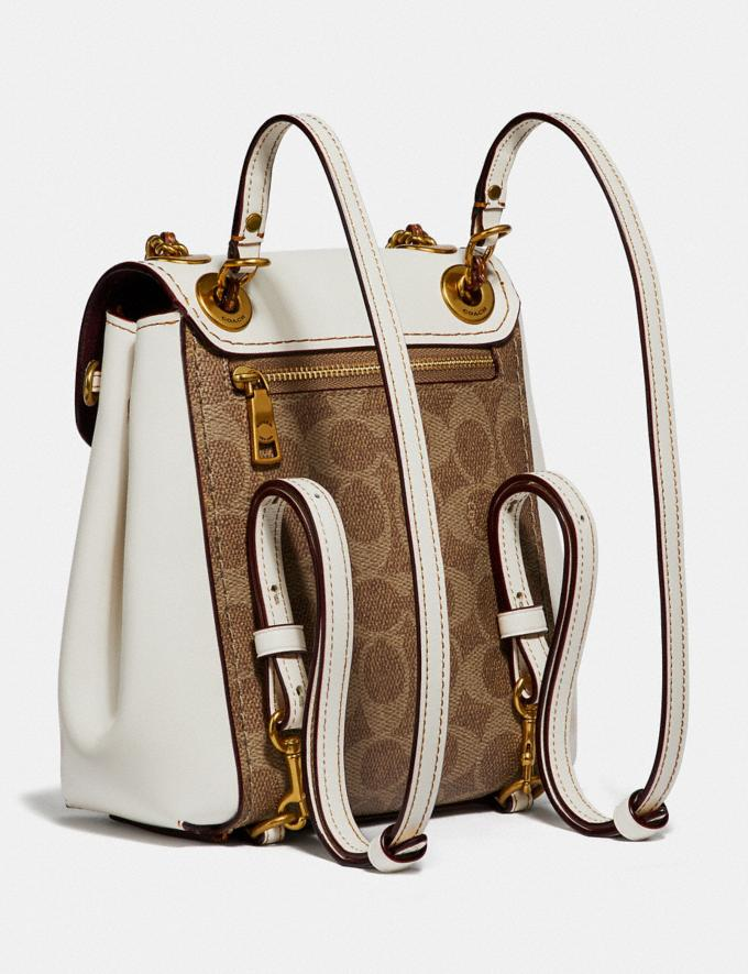 Coach Parker Convertible Backpack 16 in Signature Canvas Tan/Chalk/Brass Women Collection Parker Alternate View 1