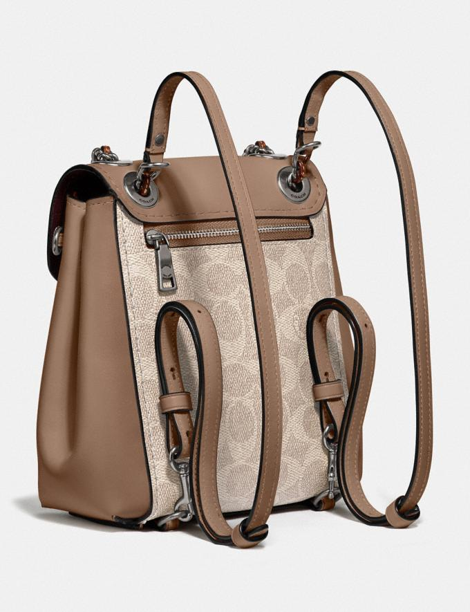 Coach Parker Convertible Backpack 16 in Signature Canvas Light Nickel/Sand Taupe Women Bags Backpacks Alternate View 1