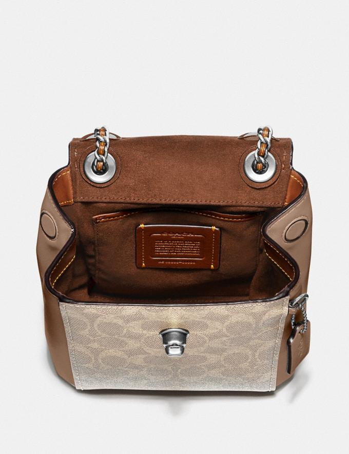 Coach Parker Convertible Backpack 16 in Signature Canvas Light Nickel/Sand Taupe Women Handbags Backpacks Alternate View 2