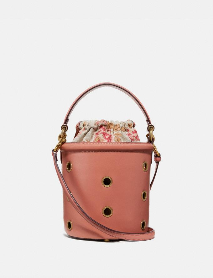 Coach Drawstring Bucket Bag With Grommets Light Peach/Brass Women Bags Shoulder Bags