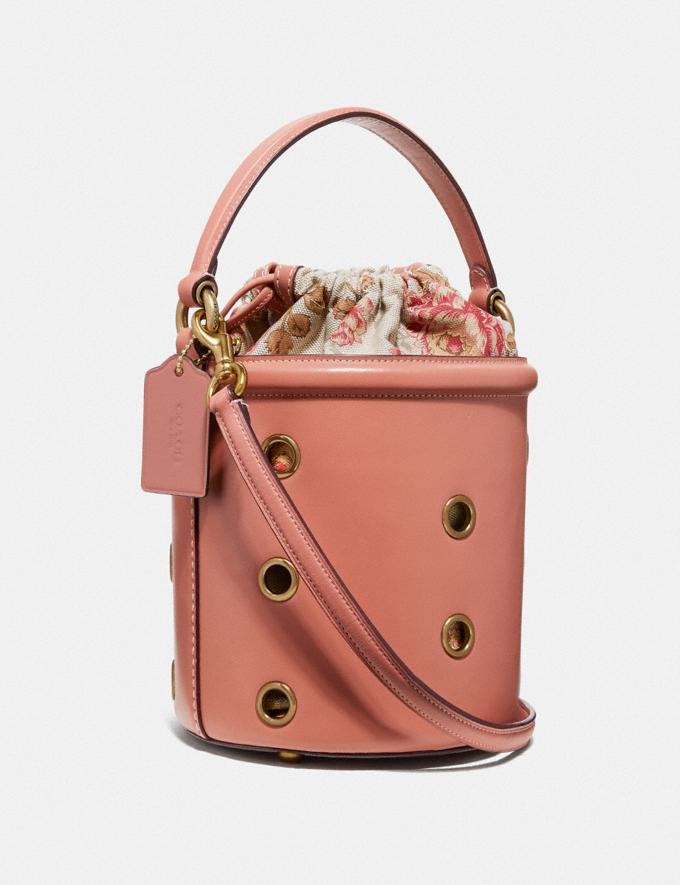 Coach Drawstring Bucket Bag With Grommets Light Peach/Brass Women Bags Shoulder Bags Alternate View 1