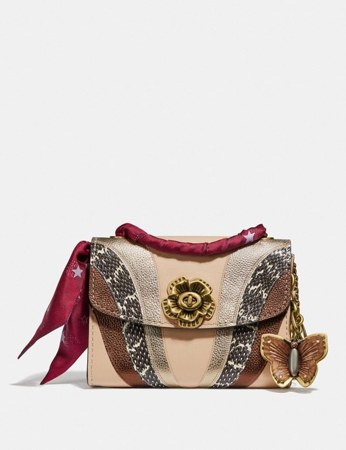 Coach Parker 18 With Wave Patchwork and Snakeskin Detail Ivory Multi/Brass Women Bags View All Alternate View 3