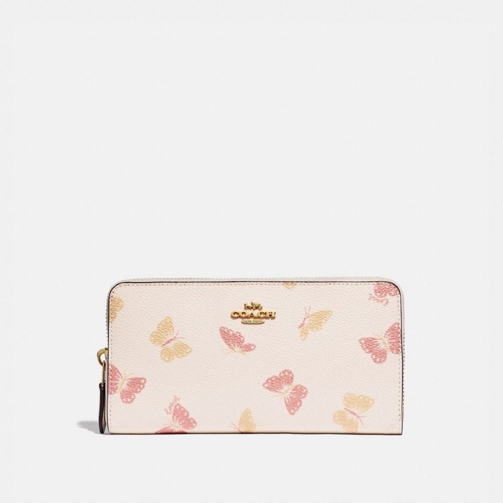 accordion zip wallet with butterfly print