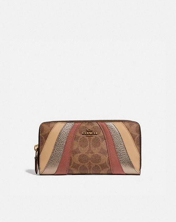 Coach ACCORDION ZIP WALLET IN SIGNATURE CANVAS WITH WAVE PATCHWORK