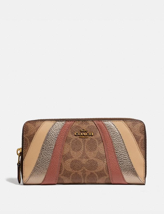 Coach Accordion Zip Wallet in Signature Canvas With Wave Patchwork Tan Multi/Brass Women Wallets & Wristlets Large Wallets