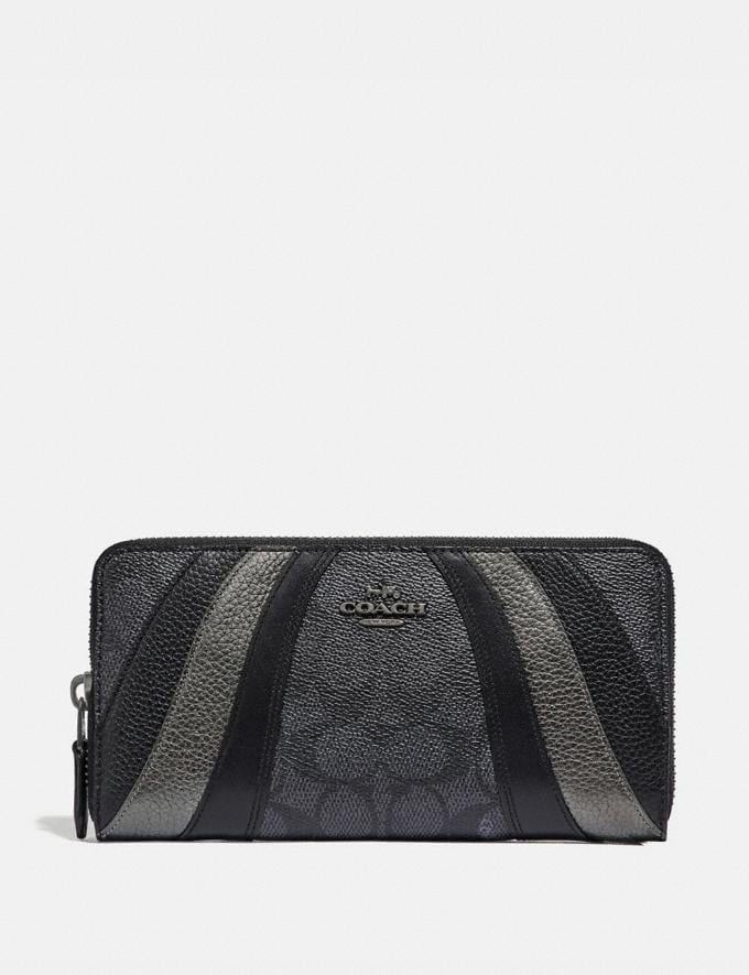 Coach Accordion Zip Wallet in Signature Canvas With Wave Patchwork Charcoal/Multi/Pewter Women Small Leather Goods Large Wallets