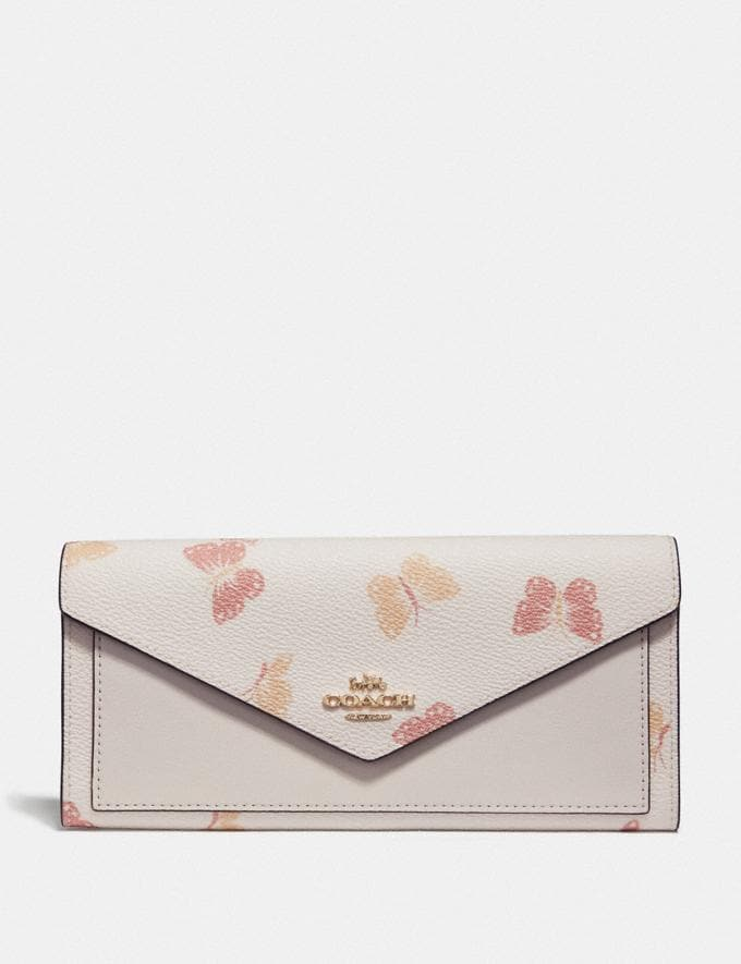 Coach Soft Wallet With Butterfly Print Chalk/Gold Women Wallets & Wristlets Large Wallets