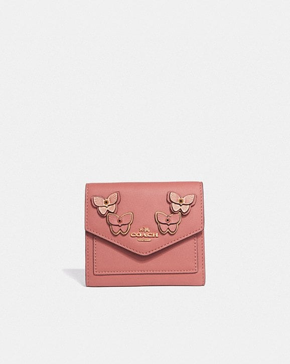 Coach SMALL WALLET WITH BUTTERFLY APPLIQUE