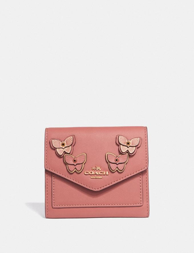 Coach Small Wallet With Butterfly Applique Light Peach Multi/Brass Women Wallets & Wristlets Small Wallets