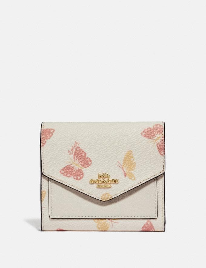 Coach Small Wallet With Butterfly Print Chalk/Gold Women Wallets & Wristlets Small Wallets
