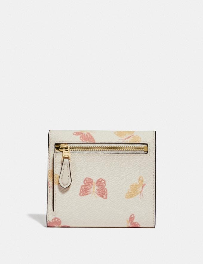Coach Small Wallet With Butterfly Print Chalk/Gold Women Edits Summer Picks Alternate View 1