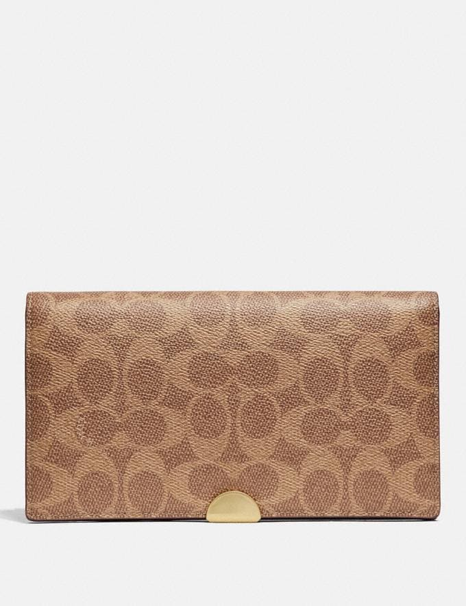 Coach Dreamer Wallet in Colorblock Signature Canvas Tan/Rust/Brass Women Small Leather Goods Large Wallets