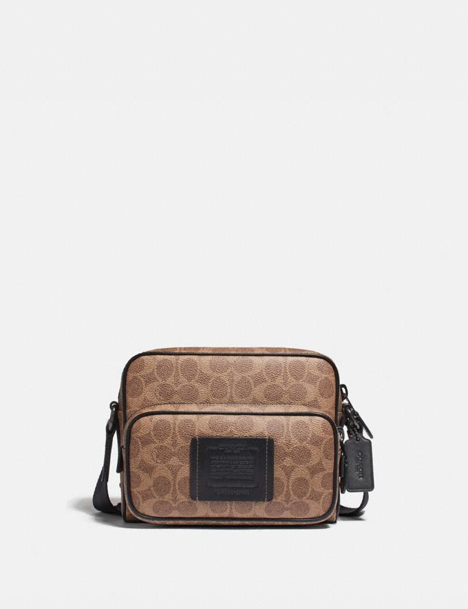 Coach Academy Sport Crossbody in Signature Canvas Khaki/Black Copper