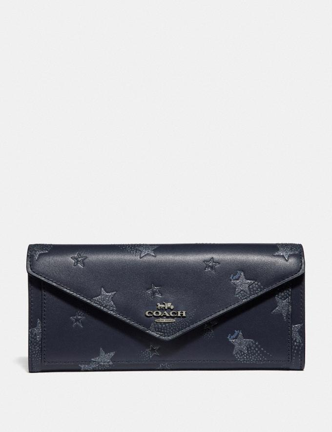 Coach Soft Wallet With Star Print Midnight Navy/Gunmetal Women Wallets & Wristlets Large Wallets