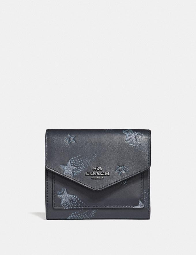 Coach Small Wallet With Star Print Midnight Navy/Gunmetal Women Wallets & Wristlets Small Wallets