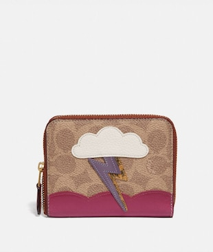 SMALL ZIP AROUND WALLET IN SIGNATURE CANVAS WITH LIGHTNING CLOUD APPLIQUE AND SNAKESKIN DETAIL