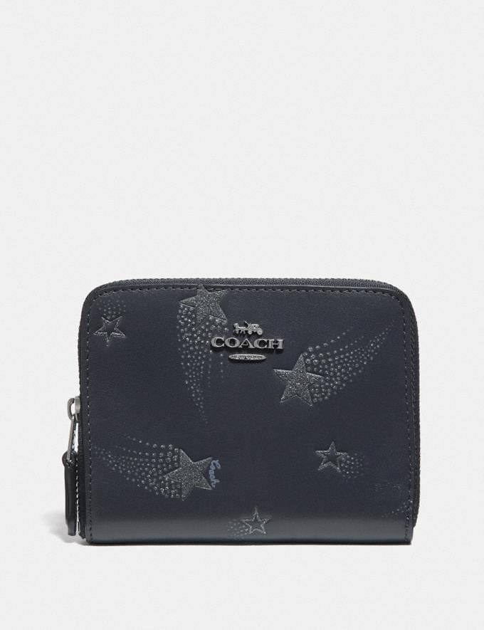 Coach Small Zip Around Wallet With Star Print Midnight Navy/Gunmetal Women Small Leather Goods Small Wallets